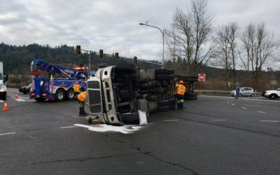 2019-01-22: Motor Oil Spill in Auburn, WA After Semi-Truck Crashes