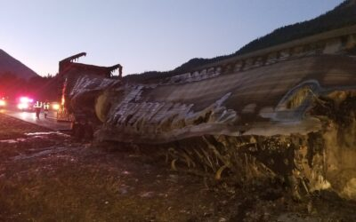2018-07-01: Burnt Out Trailer Requires Spill Response
