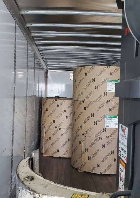 Cross-Loading 50,000lbs of Paper Rolls
